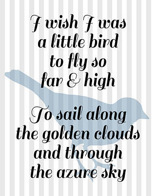 Nursery Rhyme Digital Art - Little Bird Nursery Poem by Flo Karp