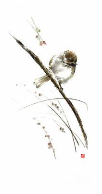 Sparrow Painting - Little Bird On Branch Watercolor Original Ink Painting Artwork by Mariusz Szmerdt