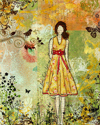 Symbolic Mixed Media - Little Birdie Inspirational Mixed Media Folk Art By Janelle Nichol by Janelle Nichol