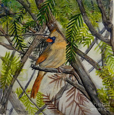 Cardinals In Watercolor Painting - Little Birdie by Melly Terpening