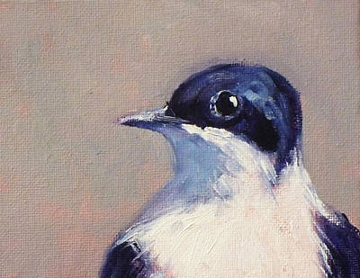 Starlings Painting - Little Blue And White by Nancy Merkle