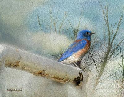 Little Blue Bird Print by Rhonda Strickland