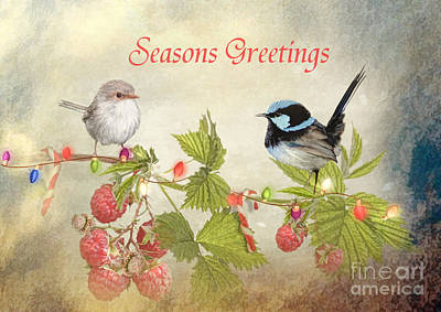 Christmas Cards Digital Art - Little Blueys  by Trudi Simmonds