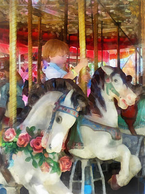 Carousel Horse Photograph - Little Boy On Carousel by Susan Savad