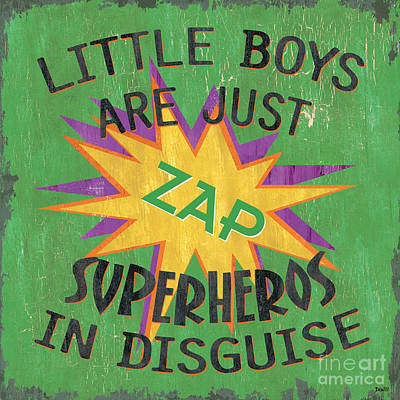 Motivational Painting - Little Boys Are Just... by Debbie DeWitt