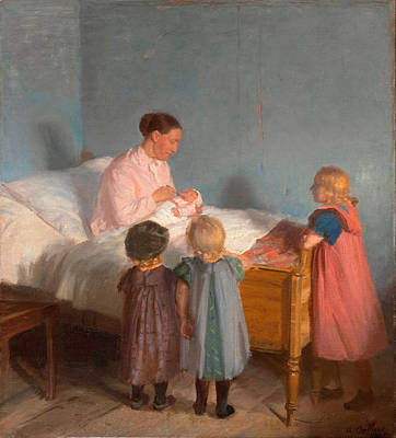 Anna Ancher Painting - Little Brother by Anna Ancher