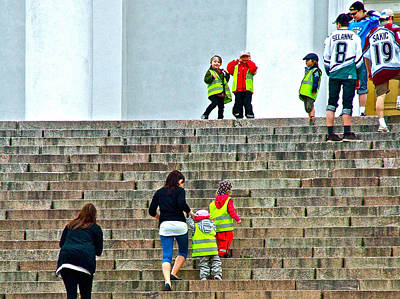 Helsinki Finland Digital Art - Little Children Climbing Steps Of Lutheran Cathedral Of Helsinki-finland by Ruth Hager