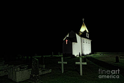 Little Church At Night Print by Jasna Buncic