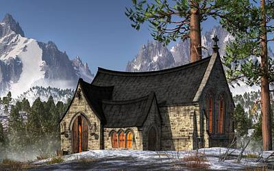 Little Church In The Snow Print by Christian Art