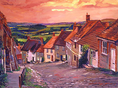 Cobbles Painting - Little Country Village England by David Lloyd Glover