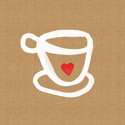 Coffee Painting - Little Cup Of Love by Linda Woods