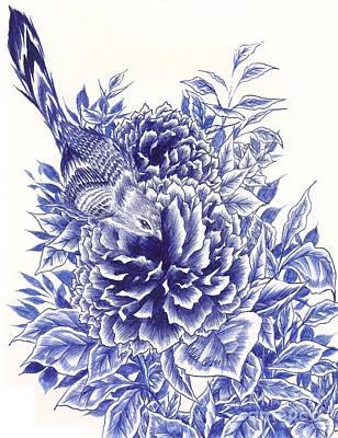Bluebird Drawing - Little Curiosity by Alice Chen