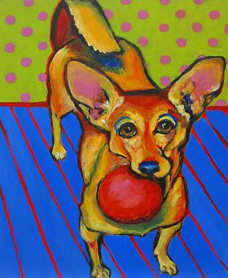 Dog Playing Ball Painting - Little Dog Big Ball by Janet Burt