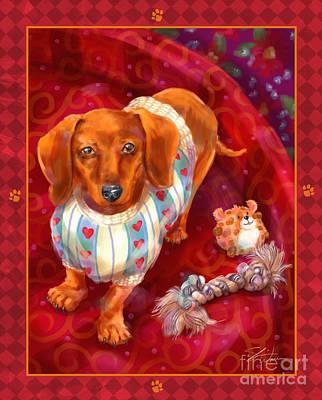 Little Dogs - Dachshund Print by Shari Warren