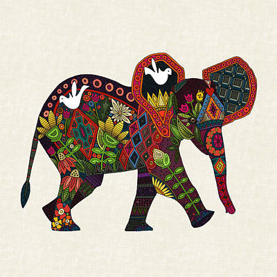 Bohemian Drawing - Little Elephant by Sharon Turner