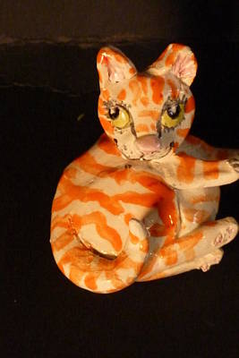 Customcrittersbydeb Sculpture - Little Fat Cat Sculpture by Debbie Limoli