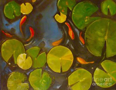 Koi Painting - Little Fish Koi Goldfish Pond by Mary Hubley