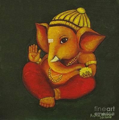 Vinayaka Painting - Little Ganesha by Asha Sudhaker Shenoy