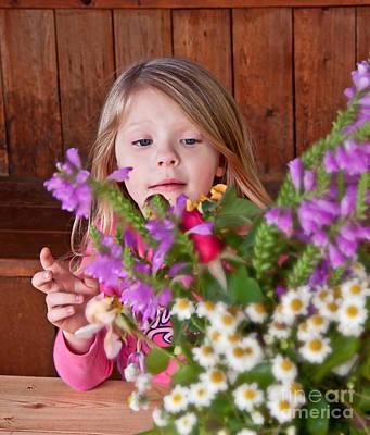 Little Girl Flower Arranging Print by Valerie Garner