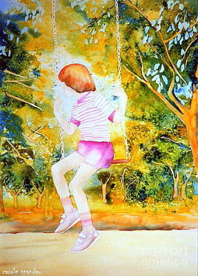Montreal Painting - Little Girl On The Park Swing Westmount Quebec City Scene Montreal Art by Carole Spandau