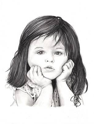 Markle Drawing - Little Girl by Rosalinda Markle