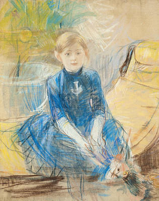 Little Girl With A Blue Jersey, 1886 Pastel On Canvas Print by Berthe Morisot