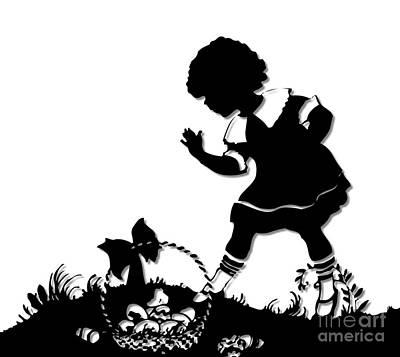 Scherenschnitte Digital Art - Little Girl With Easter Basket Silhouette by Rose Santuci-Sofranko
