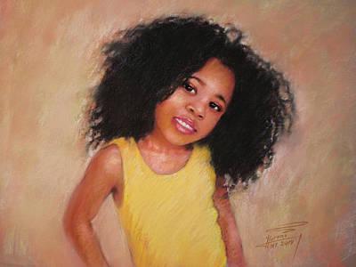 Pastel Portraits Pastel - Little Girl by Ylli Haruni