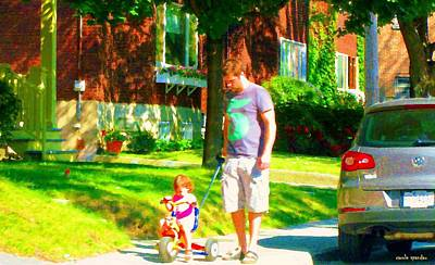 Montreal Cityscenes Painting - Little Girls First Bike Lesson With Dad Beautiful Tree Lined Street Summer Scene Carole Spandau  by Carole Spandau