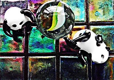 Little Glass Pandas 3 Print by Sarah Loft