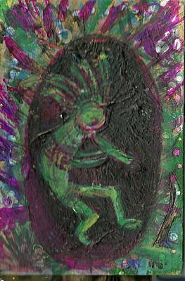 Little Kokopelli Green Print by Anne-Elizabeth Whiteway