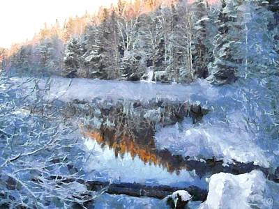 Snowy Digital Art - Little Lake by Gun Legler