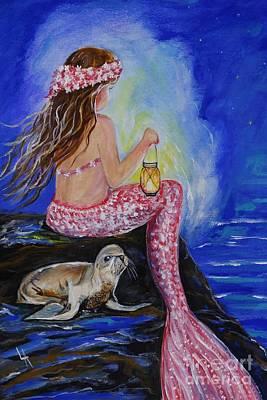 Little Mermaid Painting - Little Mermaids Buddy by Leslie Allen