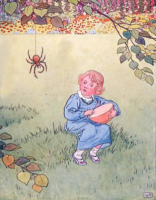 Spider Drawing - Little Miss Muffet by Leonard Leslie Brooke
