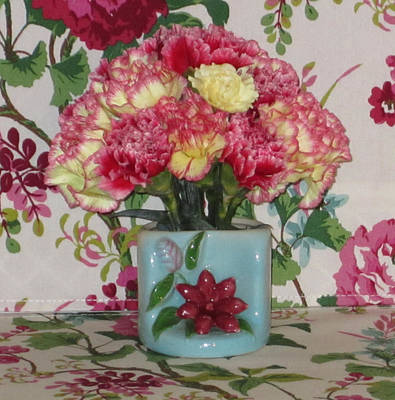 Ceramic Photograph - Little Old Vase And Carnations by Good Taste Art