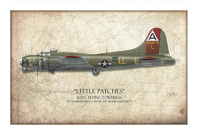 Belles Painting - Little Patches B-17 Flying Fortress - Map Background by Craig Tinder