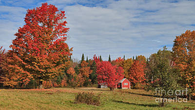Autumn Photograph - Little Red Cabin On Long Pond Road -- Nearer And Wider by Charles Kozierok