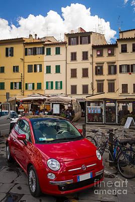 Plaza Photograph - Little Red Fiat by Inge Johnsson