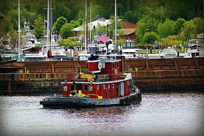 Little Red Tug Working In Sturgeon Bay    Print by Carol Toepke