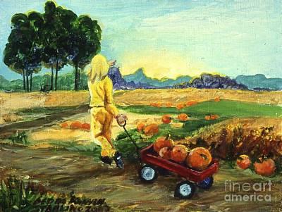 Little Red Wagon In The Pumpkin Patch Original by Gedda Runyon Starlin
