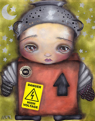 Cardboard Mixed Media - Little Robot by  Abril Andrade Griffith