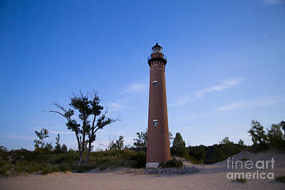 Silver Moonlight Photograph - Little Sable Lighthouse By Moonlight by Twenty Two North Photography