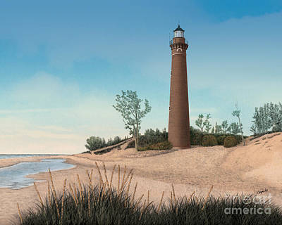 Made In Michigan Mixed Media - Little Sable Point Lighthouse by Darren Kopecky