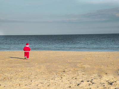 Beach Photograph - Little Santa On The Beach by Trish Tritz