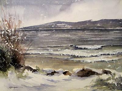 Snowscape Painting - Little Travers Bay Petoskey by Sandra Strohschein