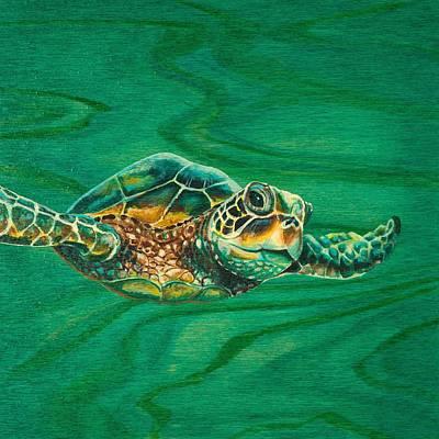 Ocean Turtle Painting - Little Turtle by Emily Brantley
