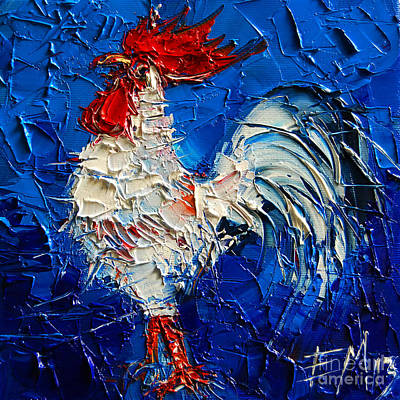 Chicken Painting - Little White Rooster by Mona Edulesco