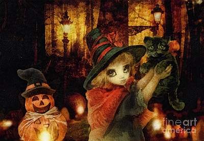 Witch Cat Painting - Little Witch Black Cat And Pumpkin by Mo T