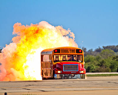 School Bus Photograph - Late For School by Annette Hugen