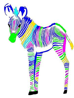 Zebra Digital Art - Little Zebra by Cindy Edwards